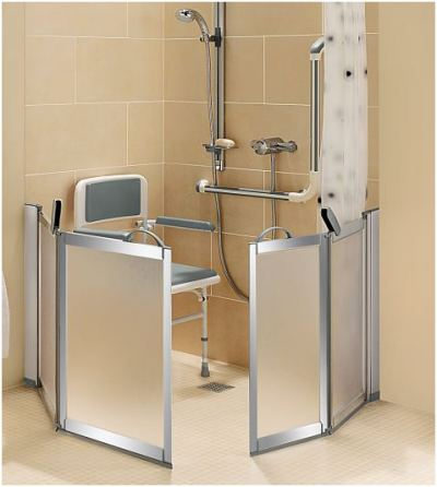 Supreme half height shower doors and screen facilitate easy access for carer assistance