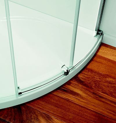 Above: Attractive, The Easy To Clean Door Runner Guides The Coram Premier  Crescent Frameless Glass Corner Shower Door Effortlessly.