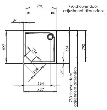 800mm square corner shower pod dimensions
