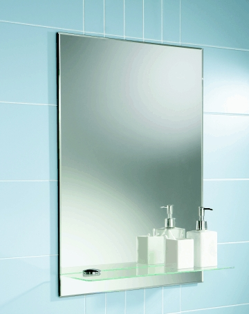 Delby bathroom mirror with shelf - Contemporary bathroom mirror with glass shelf ...