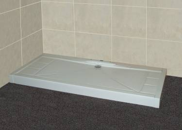 low profile shower tray with above ground waste ideal for solid floors