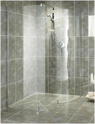 Glass shower screens and panels for a wet room shower