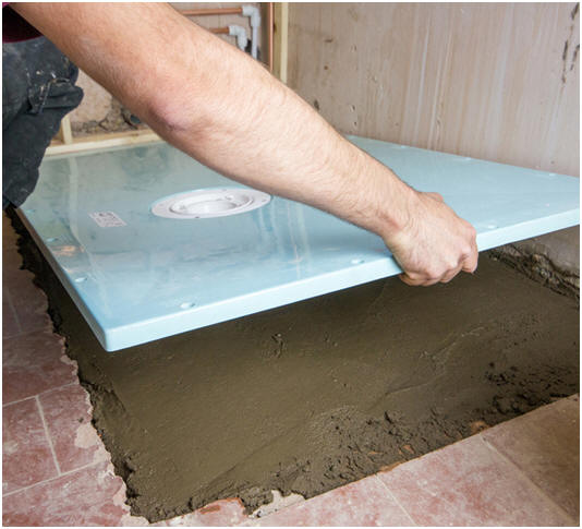 Floor formers to create the slope of a wet room shower
