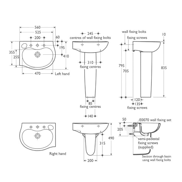 Pedestal sink sizes befon for - What is the standard size of a kitchen sink ...