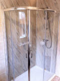 Multipanel waterproof wall panels used instead of tiles in shower and room