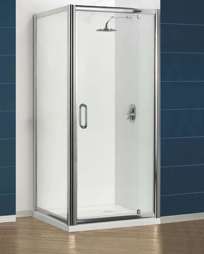 Clear glass these doors also come with a sturdy rounded bar handle