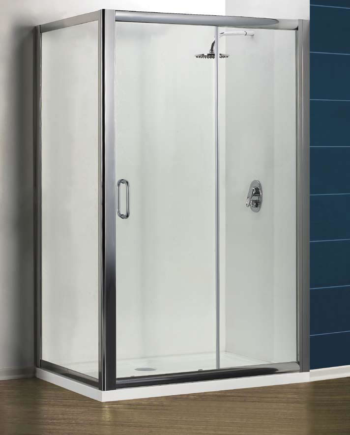 Vantage sliding shower doors are available with chromed frame 6mm clear glass and in six different sizes up to a massive 1700mm width. & Large sliding shower doors Pezcame.Com