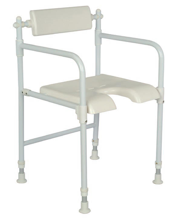 Freestanding padded horseshoe shower chair