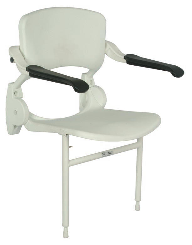 Shower chair with arm rests and legs that fold back to wall