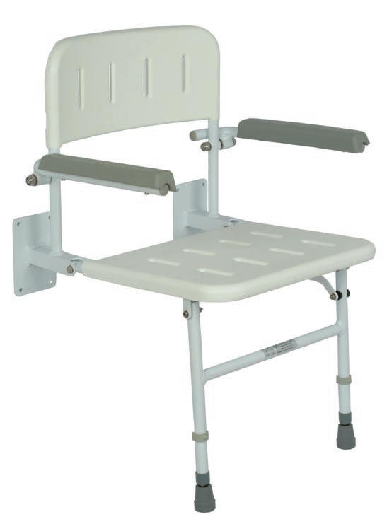 Fold down shower seat with arm rests and legs