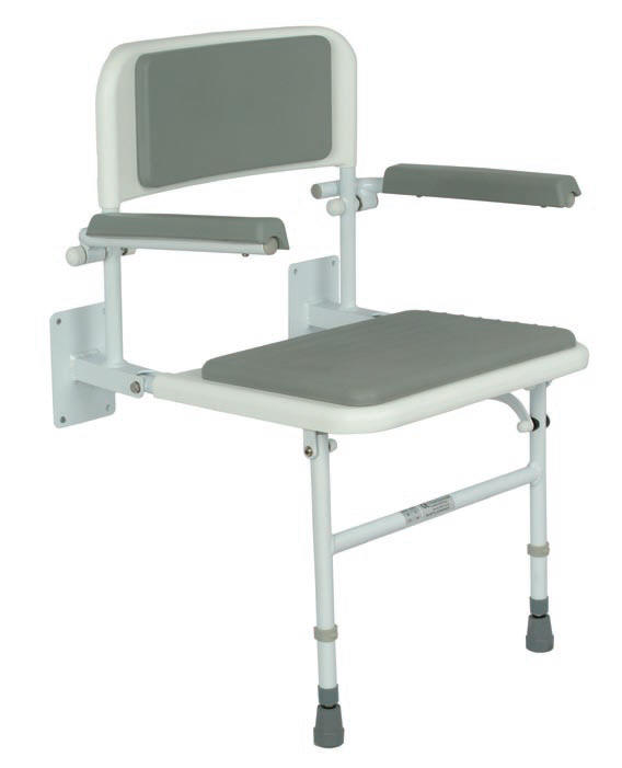 Fold down shower seat with padded seat, back and arm rests