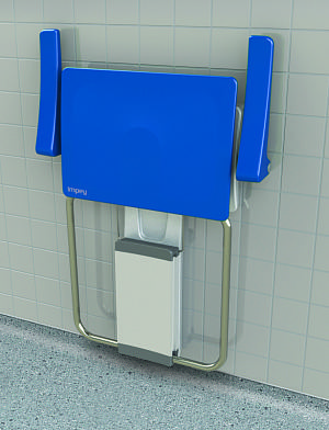 Slimline folding shower seat with armrests - finished in white and sky blue