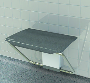 Slimfold shower bench - folding shower seat in Granite finish