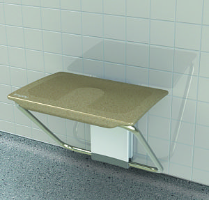 Slimfold shower bench - folding shower seat in Sandstone finish