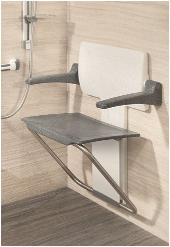 Slimline folding shower seat with armrests - finished in white and black granite