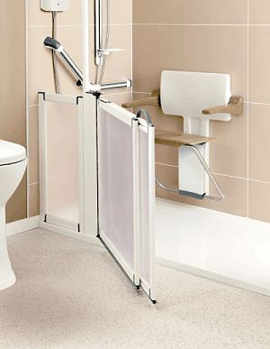 Slimline folding shower seat with armrests - finished in white and Sandstone