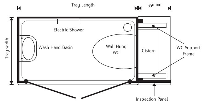 Layout drawing of shower toilet cubicle showing WC pan  wash hand basin and  shower equipment. Shower Toilet Cubicle
