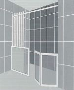 Air assisted half height shower panel and bi fold shower door to suit alcove
