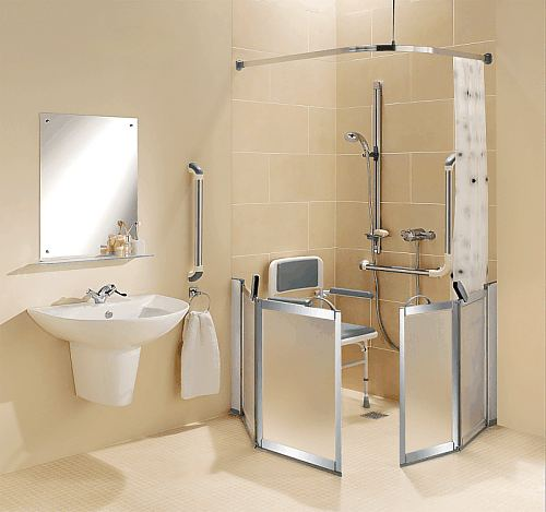 Supreme half height shower doors (Option H chrome finish) creating a wet room bi fold door shower enclosure