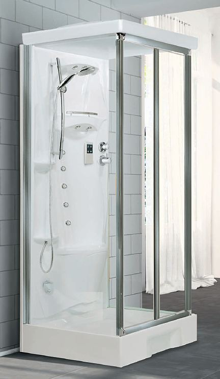 Novellini New Holiday mid wall shower pod - 1000mm x 800mm with bi ...