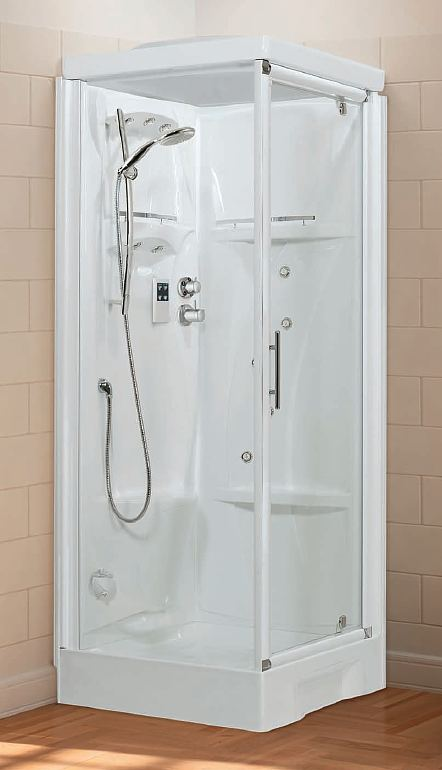 Novellini New Holiday pivot door corner shower pod
